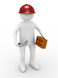 Builder on white background Stock Photo