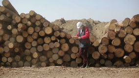 A builder in a white helmet and red jacket standing near pile of logs. The big tip lorry is going past and making a lot of dust. Worker is making notes in a stock video