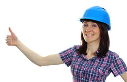 Builder woman in blue helmet showing thumbs up Royalty Free Stock Photo