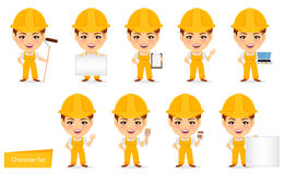 Builder woman. Funny female worker with big head. Set of humorous cartoon character. Stock Images