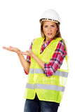 Builder woman gesturing what is that Royalty Free Stock Images
