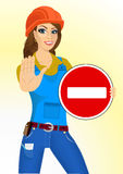 Builder woman holding a road sign Stock Images