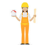 Builder woman keeps house Royalty Free Stock Photography