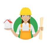 Builder woman keeps house and plan Stock Photos
