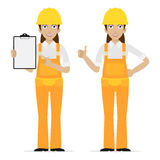 Builder woman showing thumbs up vector illustration