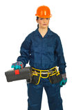Builder woman with tools container Royalty Free Stock Photos