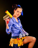 Builder woman with wallpaper Stock Image