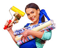 Builder woman with wallpaper. Royalty Free Stock Images