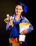 Builder woman witn wallpaper. Stock Images