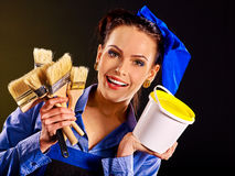Builder woman witn wallpaper Stock Images