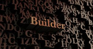 Builder - Wooden 3D rendered letters/message. Can be used for an online banner ad or a print postcard Stock Photography