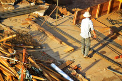 Builder worker build local lao style no have in safety protectiv Royalty Free Stock Photos