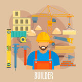 Builder worker with building work tools poster Royalty Free Stock Image