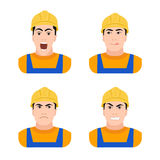 Builder worker at construction different emotions Royalty Free Stock Image