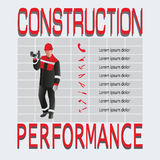 Builder worker. Construction and performance. Royalty Free Stock Photo