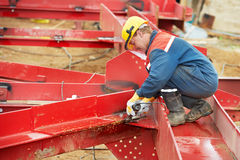 Builder worker at construction site Royalty Free Stock Photos