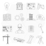 Builder worker construction thin line icons set . Royalty Free Stock Image