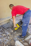 Builder worker with electric jackhammer 3 Stock Images