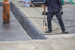 Builder worker at floor slab insulation work 2 Stock Photography