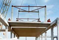 Builder worker installing concrete slab royalty free stock photos