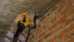Builder Worker With Pneumatic Hammer Drill stock footage