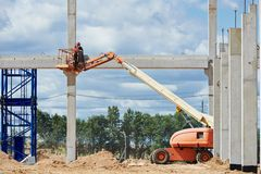 Builder worker stop up concrete pole Stock Image