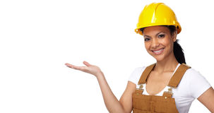 Builder worker woman stock photos