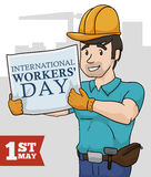 Builder with Workers' Day Sign, Vector Illustration Royalty Free Stock Photo