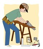 The Builder. A working carpenter, builder, or general contractor, with a sawhorse, wood, nails vector illustration