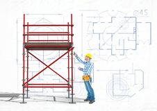Builder working in a 3D scaffolding Stock Images