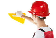 Builder working with tool at workplace Stock Photos