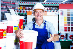 Builder workman in household store Stock Images
