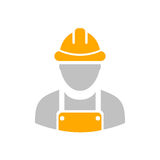 Builder workman icon. With yellow helmet Royalty Free Stock Images