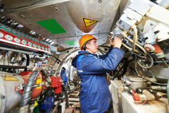 Builder works with tunneling equipment Stock Image