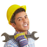 Builder with wrench Stock Images