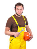 Builder with wrench Royalty Free Stock Images