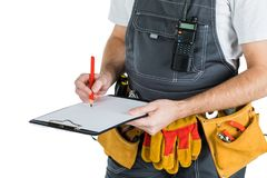 The builder writes to the clipboard.  on white backgroun. D Stock Photography