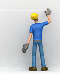 Builder writes on the wall Royalty Free Stock Photos