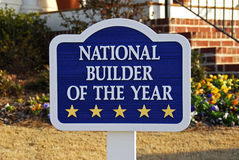 Builder of The Year. Sign advertising new homes being built by a contractor who was recognized as National Builder of the Year Stock Photography