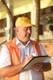 Builder in yellow cap Stock Photography