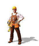 Builder in yellow helmet. Protective glasses and working clothes Stock Image