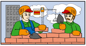 Builders. Workers building a house of bricks Stock Photos