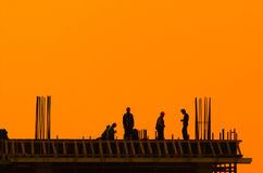 Builders. On a construction site for a new building royalty free stock photography