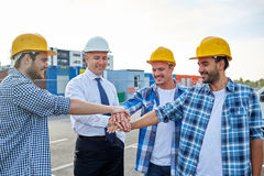 Builders and architects with hands on top Royalty Free Stock Photo