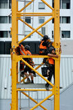 Builders assemble a construction tower crane Royalty Free Stock Photos