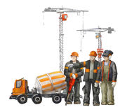 Builders on the building site. Industrial illustration with workers, cranes and concrete mixer machine Stock Images