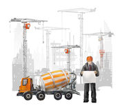 Builders on the building site. Industrial illustration with workers, cranes and concrete mixer machine Royalty Free Stock Images
