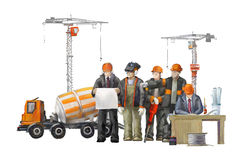Builders on the building site. Industrial illustration with workers, cranes and concrete mixer machine Royalty Free Stock Photos