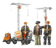 Builders on the building site. Industrial illustration with workers, cranes and concrete mixer machine Stock Photo