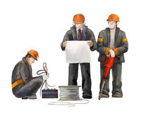 Builders on the building site. Industrial illustration with workers, cranes and concrete mixer machine Stock Photography